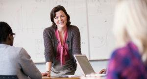 online math teacher meeting with online students