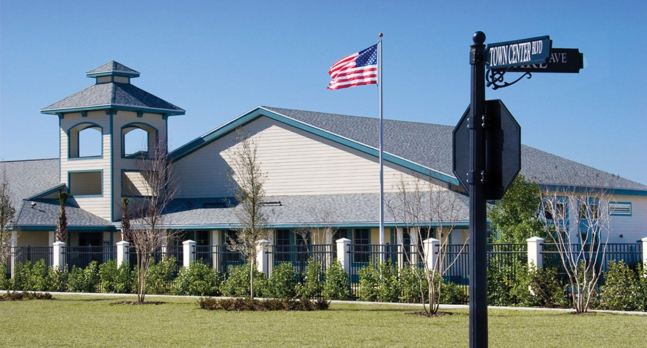 charter school with us flag flying high
